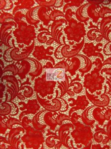 Rose Floral Paisley Guipure Venice Lace Fabric Red By The Yard