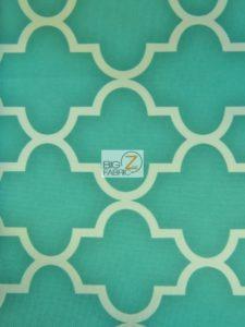 Aqua Moroccan Quatrefoil Canvas Outdoor Waterproof Fabric